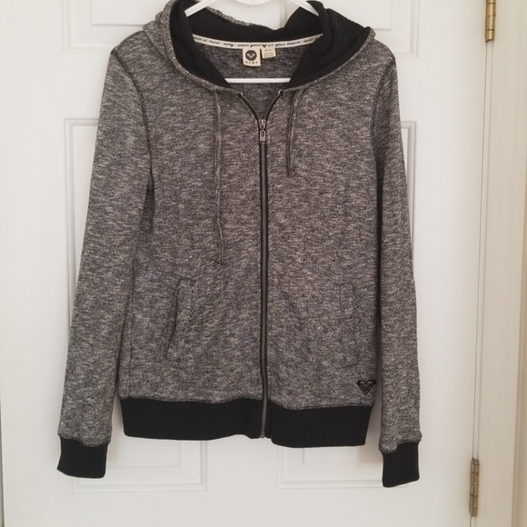 Roxy Sweaters - Very Nice Roxy Black and Gray Sweater With Hoodie